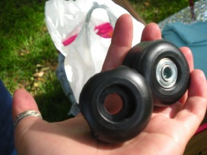 Melted and deformed skateboard wheels. Chrystal Lin, 2010